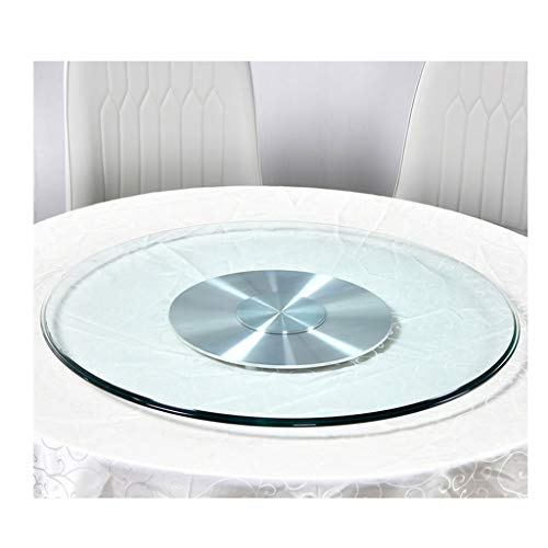 Lazy Susan turntable for the dining table, Clear glass Serving Board, Aluminum base, Easy to Clean, Rotating Turntable Tray