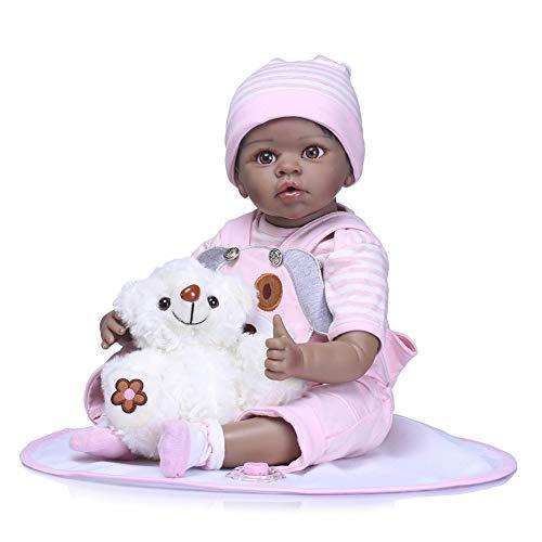 FHSGG Voll silikon 55cm körper real Touch Baby lebensechte wiedergeborene Puppen realistische Neugeborene Puppe schwarz ethnisch schlafen Native Indian Style Xmas Gift,Rosa,55cm