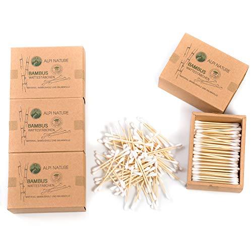 Lot de bâtonnets de coton de bambou (800 pièces), sans peluches, végétaliens, ne nuisent pas à l'environnement, durables, sans plastique, pour enfants et adultes