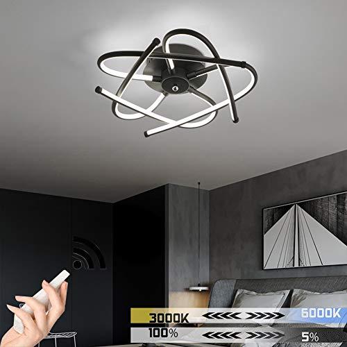 Met afstandsbediening, lampenkap van wit acryl, frame van metaal, modern design, plafondlamp voor slaapkamer, plafondlamp dimbaar, rond, voor eetkamer, woonkamer, 3000 K-6500 K