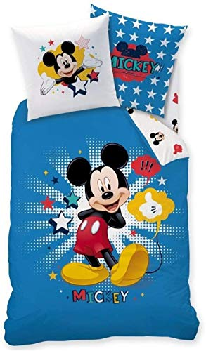QWAS Disney Mickey - Juego de ropa de cama (funda nórdica de 100% microfibra y funda de almohada de 50 x 75 cm, impresión digital 3D, 100% microfibra (V01,140 x 210 cm + 50 x 75 cm)