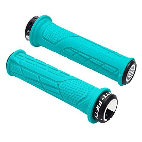 FIFTY-FIFTY Single Lock-on Mountain Bike Grips, Bicycle Handlebar Locking Grips, Non-Slip MTB Handle Grips (Turquoise)