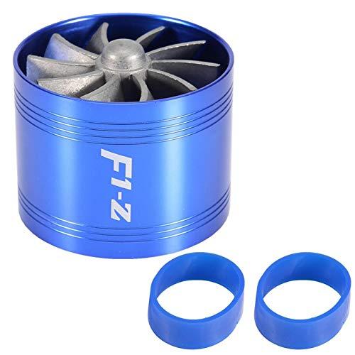 Turbo de admisión de aire, Turbonator de admisión de aire del coche Turbina de un solo ventilador Supercargador Ahorro de combustible de gas Turbo 64 mm(azul)