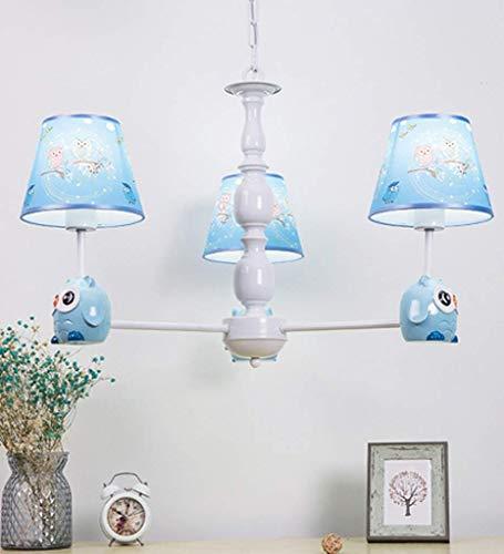 Lampenkap van stof, design voor kroonluchter van stof, voor kinderen, met levende uilendecoratie voor slaapkamer, baby, meisjes, jongens, E27 (A++)
