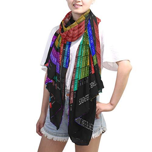 LZXO Schal für Damen, Periodensystem, Elemente, Druck, modisch, lang, weich, leicht, für alle Jahreszeiten