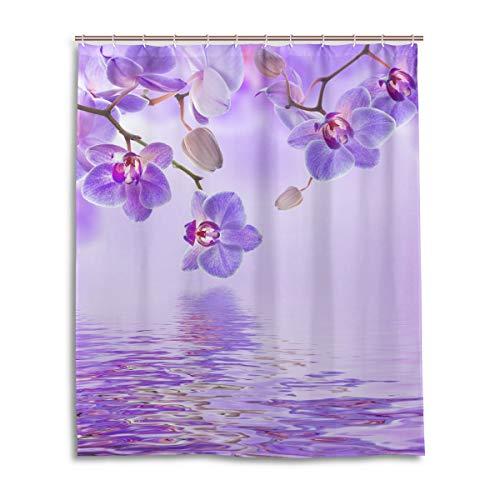 Emoya Duschvorhang Tropische Orchideen lila Blumen Wasserdicht und schimmelfest Digital bedruckt Badvorhänge Badaccessoires 150x180cm