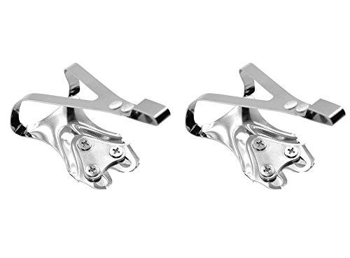 2X Calapies de Acero Cromado Plata Compatible con Pedal Shimano Bicicleta 2907