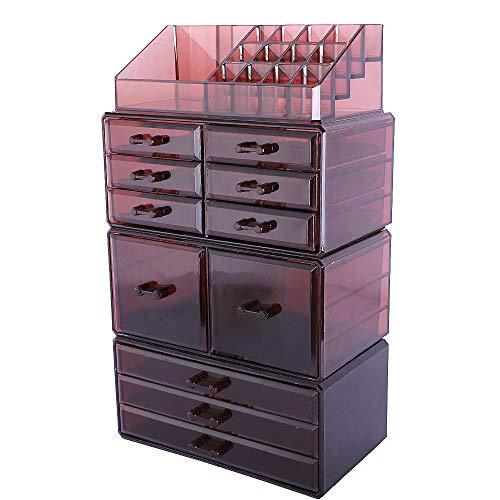 Makeup Organizer 11 Drawers Cosmetic Storage Makeup Rack Display Case with 16 Top Compartments, Coffee
