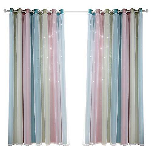 Festnight Vorhang Blickdicht Vorhang Kinderzimmer Junge Mädchen mit Sternen 100% Polyester Bunte Doppelschicht Fenstervorhänge für Schlafzimmer Wohnzimmer,Rosa,2 Stück B134 x H160 cm