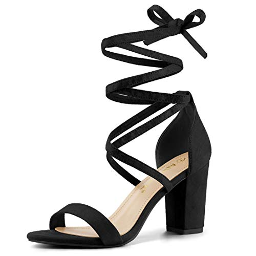 Allegra K Damen Peep Toe Lace Up Blockabsatz High Heels Sandalen Schwarz 39