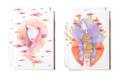 Cuaderno de notas tamaño mediano A5, 2 modelos'Mujer y peces rojos', 64 páginas en blanco