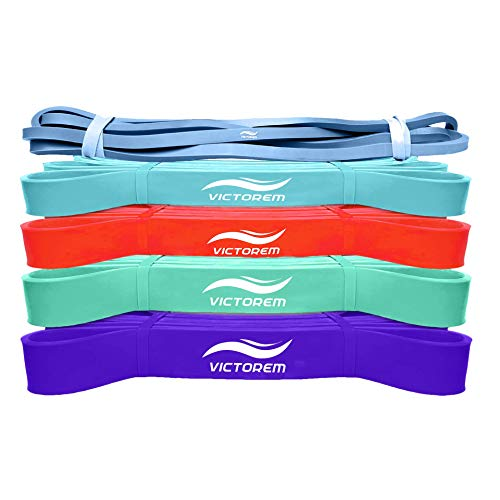 Victorem Pull Up Assistance Bands - Set of 5 - Power Resistance Bands for Stretching, Strengthening, Crossfit, Therapy, Upper and Lower Body Exercises - with 5 Mini Loop Bands - Bright Color Set