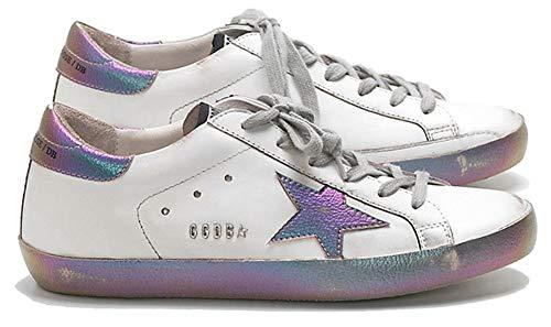 VCEGGDB Zapatillas de deporte casuales antideslizantes acogedoras GGDB zapatos de cuero de las mujeres Top bajo, color Morado, talla 41.5 EU