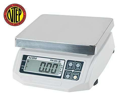 VisionTechShop ACOM APW-200 Digital Portion Control Scale, Lb/Oz/Kg/g Switchable, Low Profile Design, 30lb Capacity, 0.01lb Readability, Single Display, NTEP Legal for Trade
