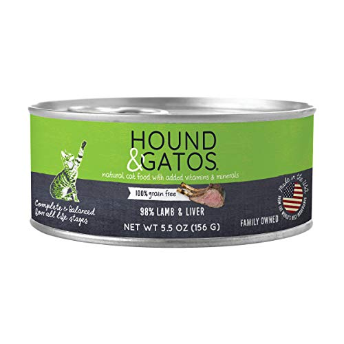 Hound & Gatos Wet Cat Food, 98% Lamb & Liver, case of 24, 5.5 oz cans