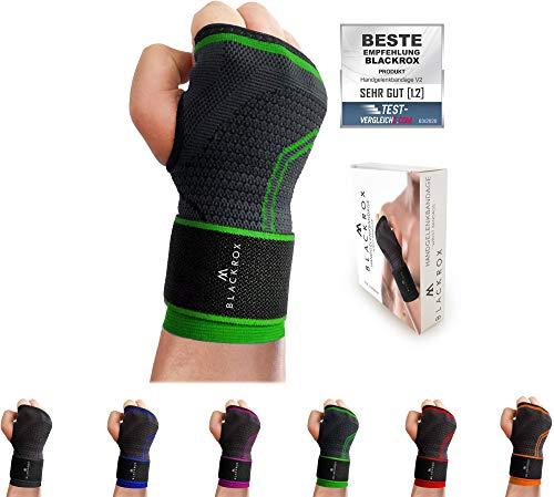 BLACKROX Handgelenk Bandage Fitness V2, für Frauen u. Männer, rechte oder Linke Hand, Handgelenkstütze, stabilisiert Handgelenkschoner, Wrist Wraps, Handgelenkbandage One Size (GRÜN)