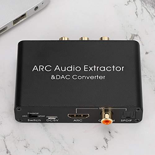 minifinker Extractor de Audio, Canal coaxial DAC SPDIF Interfaz chapada en Oro para TV para convertir Audio Digital PCM/LPCM 2.0CH a L/R para RCA