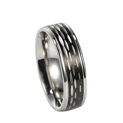mowen 6mm Diámetro de Plata, de Acero Inoxidable Negro IP Centro de Corte Brillante Acabado Bordes de Acero Anillo, Tamaños 5–14