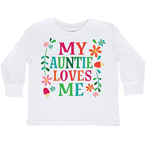 inktastic My Auntie Loves Me Girls Toddler Long Sleeve T-Shirt 3T White 3015a