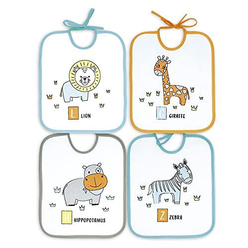 Ti TIN - Pack de 4 Baberos Impermeables para Bebés 73% Algodón - 27% Poliéster Forro Vinilo   Baberos con Cierre con Cintas para Bebés de 6 a 18 Meses