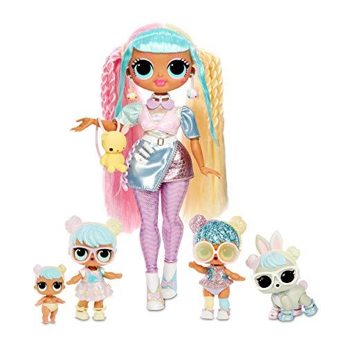 L.O.L. Surprise! O.M.G. Bon Bon Family zestaw z O.M.G. Fashion lalka z ubraniem i akcesoriami, pasujące mini lalki i pluszaki