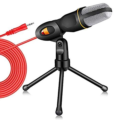 Professional 3.5mm Jack Recording Condenser Microphone with PC Microphone Stand Microphone for computer Laptop, iP@d, iPhOne, Mac-Recorder Singing YouTube Skype Gaming (Black)