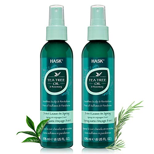 HASK Invigorating TEA TREE OIL 5-in-1 Leave In Conditioner Spray for all hair types, color safe, gluten free, sulfate free, paraben free - TEA TREE 2 PIECE SET