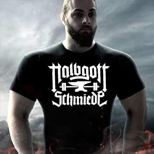 Gods Rage T-Shirt Limitierte Halbgottschmiede T-Shirt\'s Tanktops Training Sport Bodybuilding Schwarz (3XL, T-Shirt)