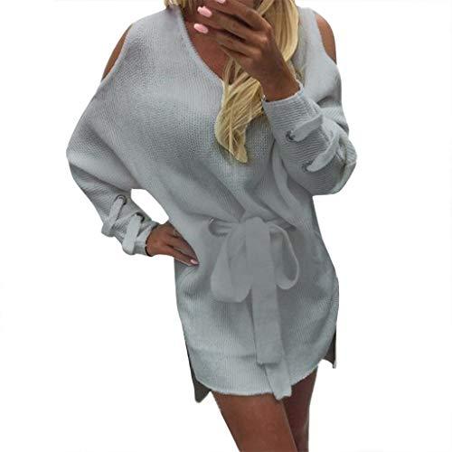 URIBAKY Damen Pullover Lose Trägerlosen Langarm V-Ausschnitt Pullover Strickkleid Sweatshirtkleid Strickpullover Pulloverkleid Tunika Oberteile