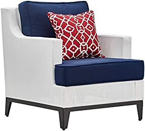 Tommy Hilfiger Hampton Outdoor Mesh Chair with Cushions White and Navy