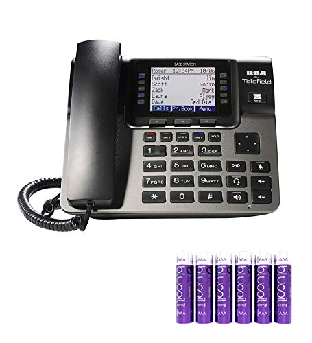 RCA U1000 Unison Base Station - 4 Line Phone Systems for Small Business with Digital Receptionist Bundle with Blucoil 6 AAA Batteries