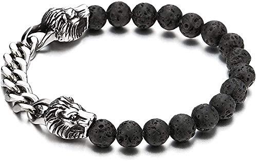 huangshuhua Pulsera de Acero Inoxidable para Hombre con Cadena de bordillo de león Pulsera de Estiramiento de Cuentas de Piedra de Lava volcánica Negra de 8 mm