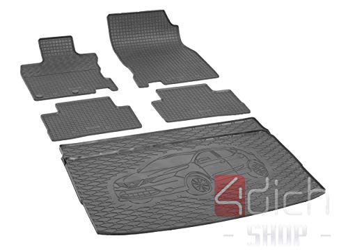 Passgenaue Kofferraumwanne und Gummifußmatten geeignet für Nissan Qashqai ab 2014 + Autoschoner MONTEUR