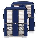 king do way Bolsa de Almacenamiento de Ropa de Gran Capacidad con Asa Reforzada y Compartimiento, Organizador Plegable y Transpirable para el Armario con Ventana Clara 60x43x35cm (Azul Oscuro, 4PCS)