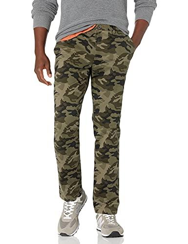 Marca Amazon – Goodthreads – «El pantalón chino perfecto»; pantalón chino de corte entallado, lavado, cómodo y elástico para hombre, verde camuflaje, 31W x 30L