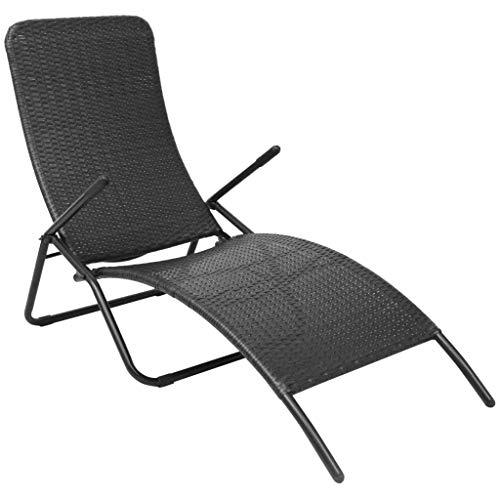 vidaXL Chaise Longue Pliable Transat de Patio Bain de Soleil de Jardin Chaise Longue d'Extérieur Terrasse Plage Résine Tressée Noir