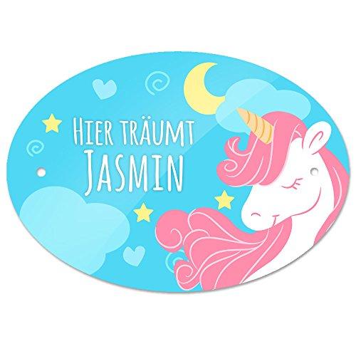 Türschild mit Namen - Hier träumt Jasmin - und Einhorn-Motiv für Mädchen | Kinderzimmer-Schild
