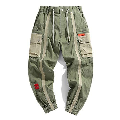 Pantalones Cargo para Hombre Joggers para Hombre Pantalones Holgados de Estilo Coreano Hip Hop Ropa de Calle Japonesa Pantalones para Hombres Green Joggers Men Asian-M