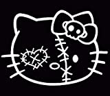 Hello Kitty Zombie Decal Racing White Sticker Window Truck, Die Cut Vinyl Decal for Windows, Cars, Trucks, Tool Boxes, laptops, MacBook - virtually Any Hard, Smooth Surface