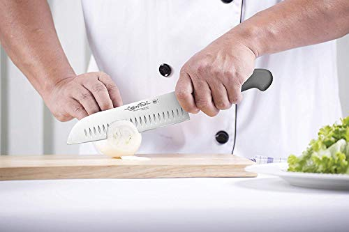 Cutlery-Pro Gourmet Chef Santoku Knife with Hollow Grounds, Professional Quality, NSF Approved, German Carbon Steel (X50CrMov15), 7-Inch Blade