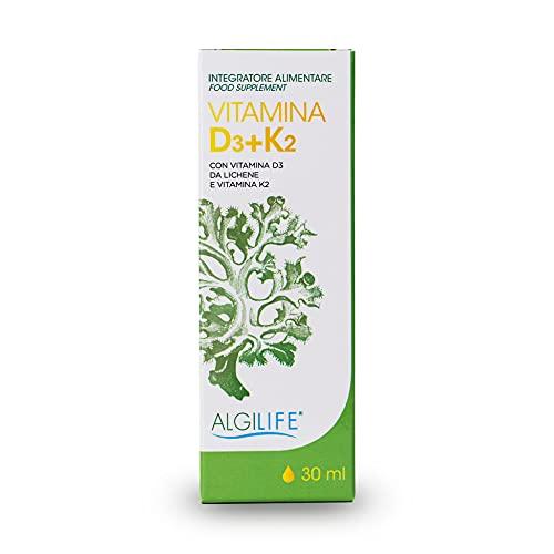 Vitamina D3 K2 gocce   Vitamina D3 da Lichene Vitamina K2 da Farina di Ceci   Integratore Vitamina D Vitamina K (30 ml)
