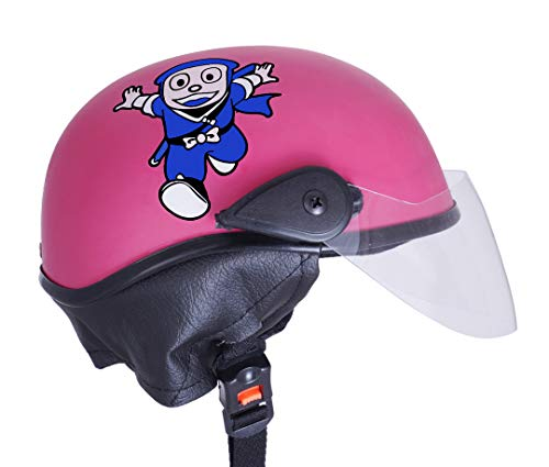 Western Era Stylish Ninja New Hatorri Open Face Helmet for Kids    Baby Safety and Comfort    (3-12 Years) (Pink Matte)