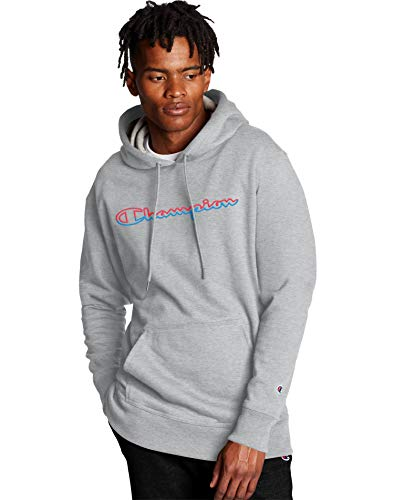 Champion Men's Powerblend Graphic Hoodie, Oxford Gray, Medium