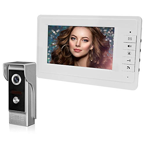 HFeng 7 '' Pantalla en color Intercomunicador video Timbre, Sistema de sistema de interfono video para el hogar, 700TVL IR Cámara nocturna al aire libre (1 cámara 1 monitor)