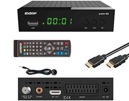 EDISION Proton S2 Full HD SAT Receiver inkl. HDMI Kabel & IR Auge (1x DVB-S2, USB WiFi Support, USB, HDMI, SCART, S/PDIF,FTA schwarz) [ für Astra vorprogrammiert]