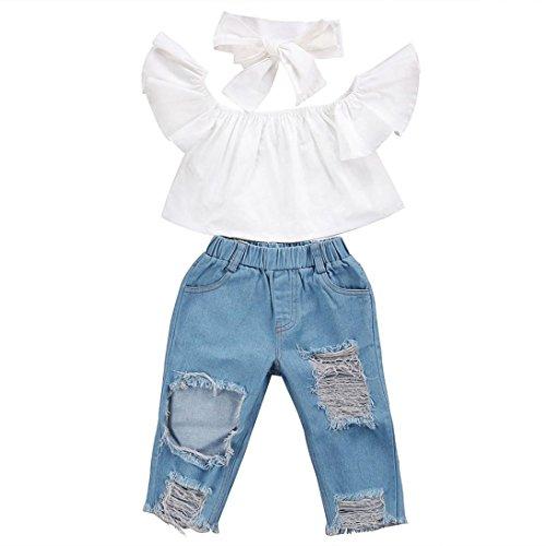 UOMOGO Neonata Bambine off Spalla Falbala Cime + Buco Denim Pant Fascia Bambino Vestiti Set (24 Mesi, Bianca)