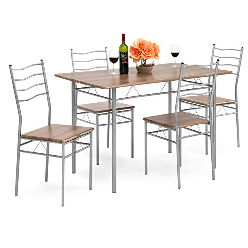 Best Choice Products 5-Piece 4ft Modern Wooden Kitchen Table Dining Set w/Metal Legs, 4 Chairs, Brown/Silver