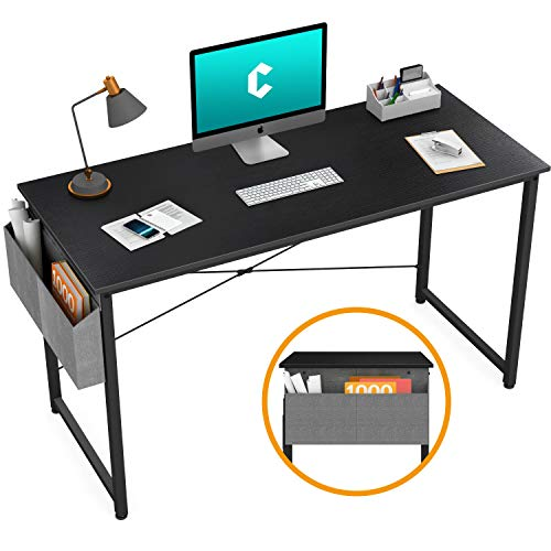 """Cubiker Computer Desk 47"""" Home Office Writing Study Desk, Modern Simple Style Laptop Table with Storage Bag, Black"""