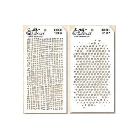 Tim Holtz Layering Stencils Duo Pack ~ Burlap /& Bubbles!!!
