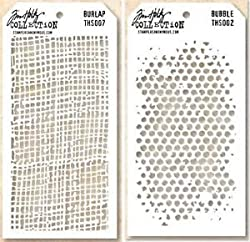for coloring backgrounds distressed looking Burlap and Bubbles stencils from Tim Holtz